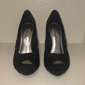 Lulu Townsend Black Satin Heels - worn once